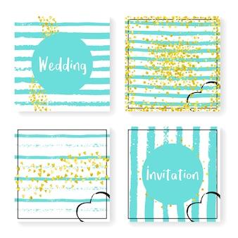 キラキラ紙吹雪とストライプの結婚式の招待状セット。ミントと白の背景にゴールドのハートとドット。パーティー、イベント、ブライダルシャワーの結婚式の招待状を設定してデザインし、日付カードを保存します。