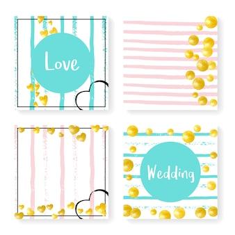 キラキラ紙吹雪とストライプの結婚式の招待状セット。ピンクとミントの背景にゴールドのハートとドット。パーティー、イベント、ブライダルシャワーの結婚式の招待状を設定してデザインし、日付カードを保存します。 Premiumベクター
