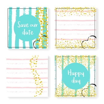 キラキラ紙吹雪とストライプの結婚式の招待状セット。ピンクとミントの背景にゴールドのハートとドット。パーティー、イベント、ブライダルシャワー用に設定された結婚式の招待状のテンプレート、日付カードを保存します。