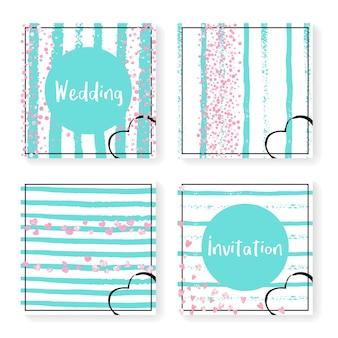 キラキラ紙吹雪とストライプの結婚式の招待状セット。ミントと白の背景にピンクのハートとドット。パーティー、イベント、ブライダルシャワーの結婚式の招待状を設定してデザインし、日付カードを保存します。