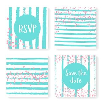 キラキラ紙吹雪とストライプの結婚式の招待状セット。ミントと白の背景にピンクのハートとドット。パーティー、イベント、ブライダルシャワーの結婚式の招待状が設定されたテンプレート、日付カードを保存します。