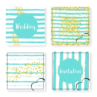 Wedding invite set with glitter confetti and stripes. gold hearts and dots on mint and white background. design with wedding invite set for party, event, bridal shower, save the date card.