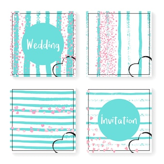 Wedding invite set with glitter confetti and stripes. pink hearts and dots on mint and white background. design with wedding invite set for party, event, bridal shower, save the date card.