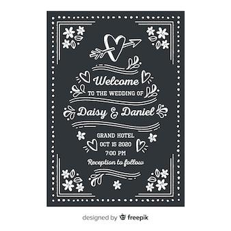 Wedding invtitation template on blackboard