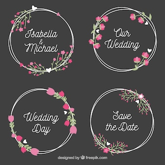 Wedding label collection in wreath style