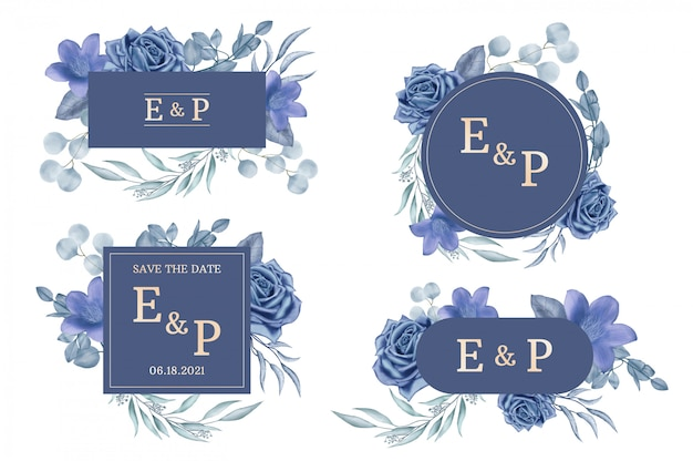 Wedding label collection with watercolor floral frame