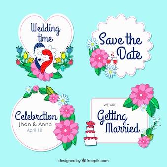 Свадебный ярлык с цветами