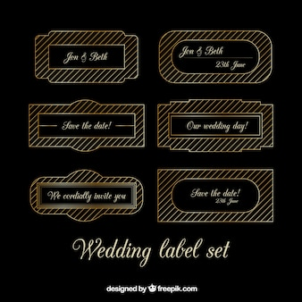 Wedding label set in gold