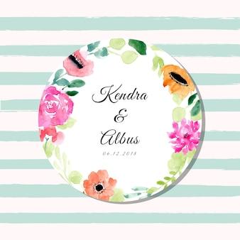 Свадебный ярлык с кругом цветочный акварель