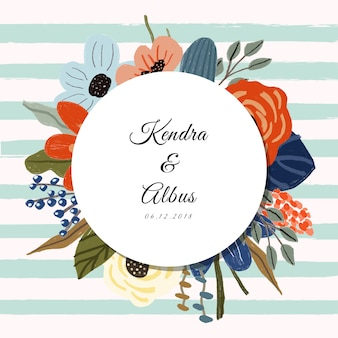 Свадебный ярлык с милыми цветами