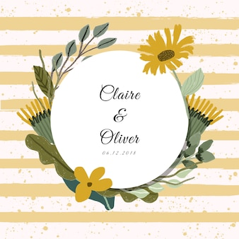 Wedding label with yellow floral frame