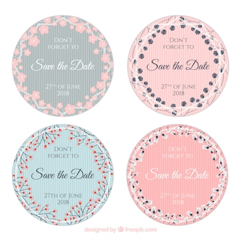 Wedding labels collection with flowers