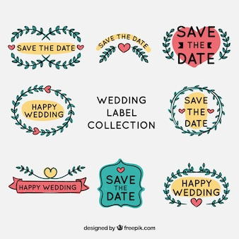 Wedding labels collection with ornaments