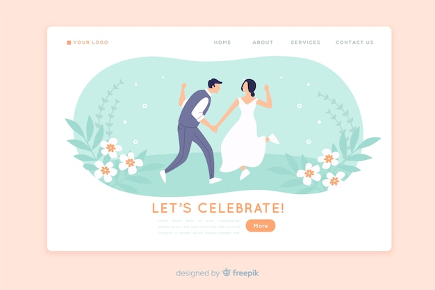Wedding landing page flat design