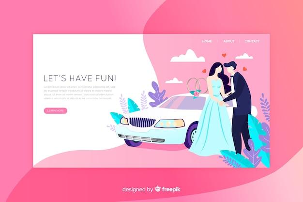 Wedding landing page flat design