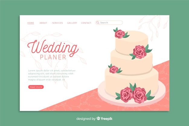 Wedding landing page template with cake