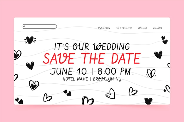Wedding landing page template with doodled hearts