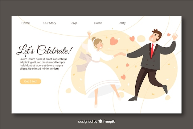 Wedding landing page template with illustrated couple