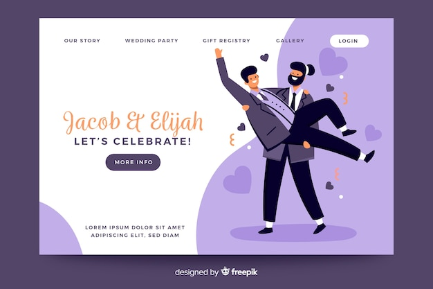 Wedding landing page template with illustrations