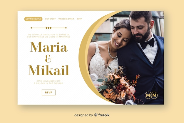Wedding landing page template with image