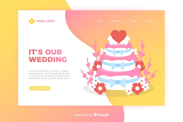 Wedding landing page with cake