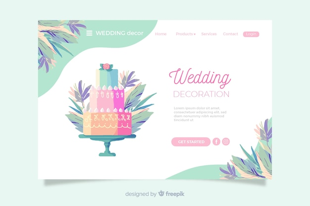 Wedding landing page with colorful cake