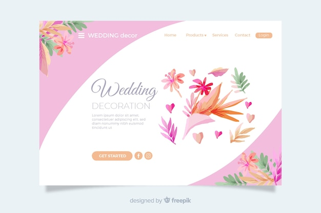 Wedding landing page with colorful leaves