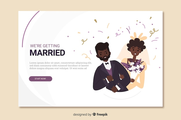 Wedding landing page with couple