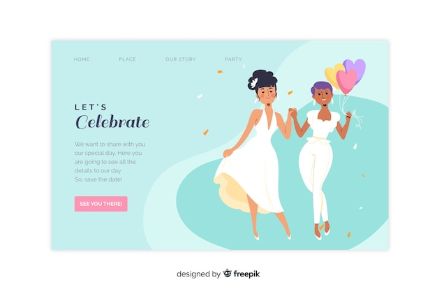 Pagina di destinazione del matrimonio con coppia
