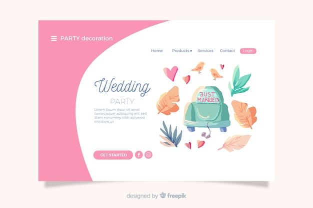 Wedding landing page with cute elements