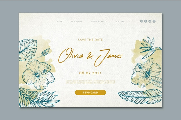 Wedding landing page with floral ornaments