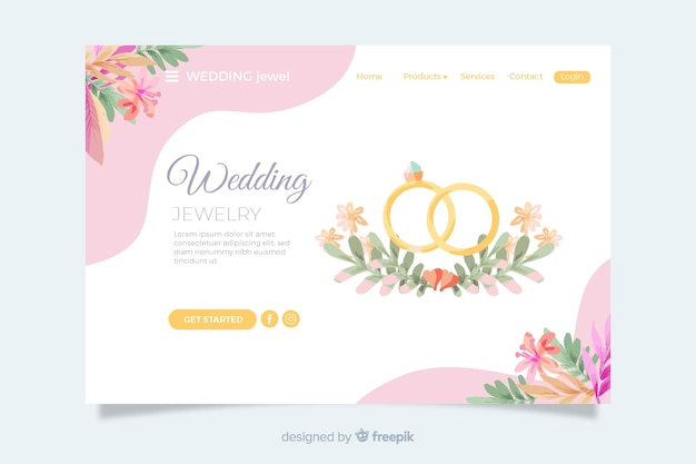 Wedding landing page with golden rings