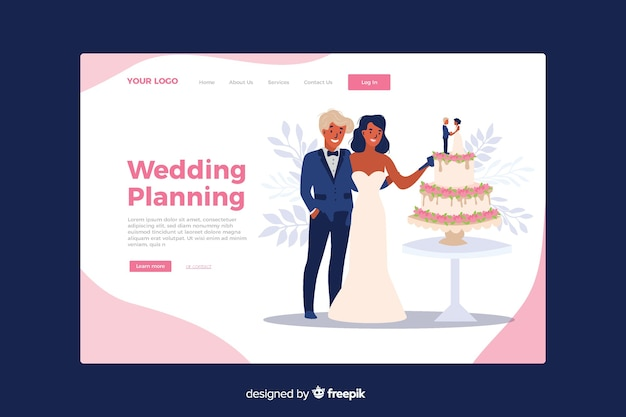 Wedding landing page with illustrated couple template