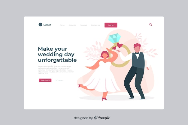 Wedding landing page with illustrated couple