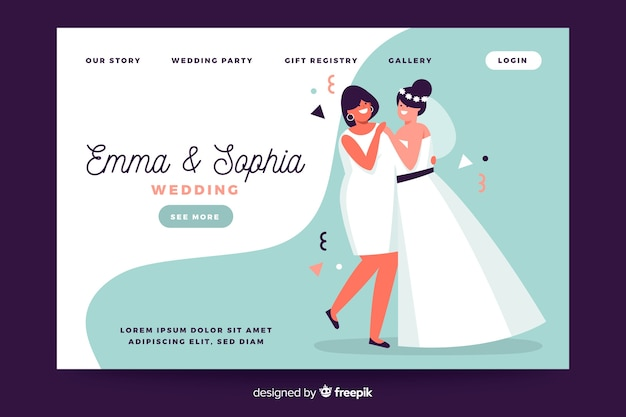 Wedding landing page with illustrations template