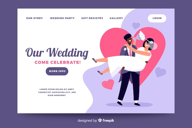 Wedding landing page with illustrations