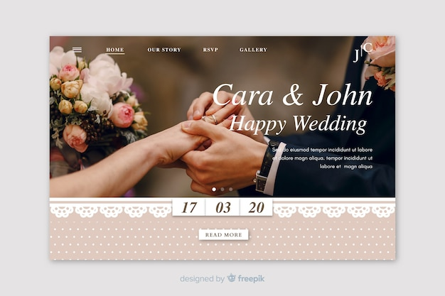 Wedding landing page with image