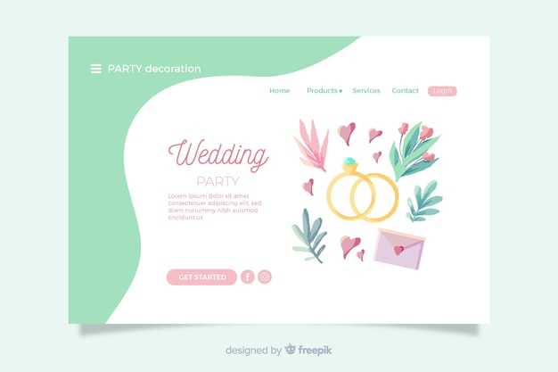 Wedding landing page with lovely elements