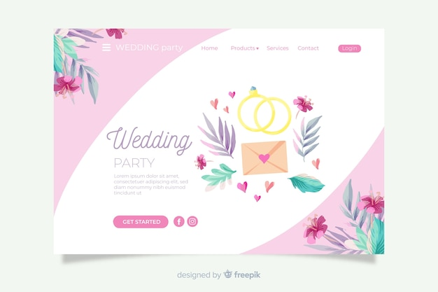 Wedding landing page with lovely ornaments