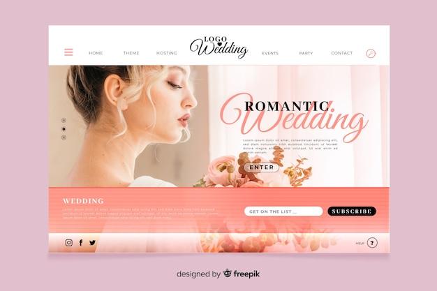 Свадебная посадочная страница с концепцией фото