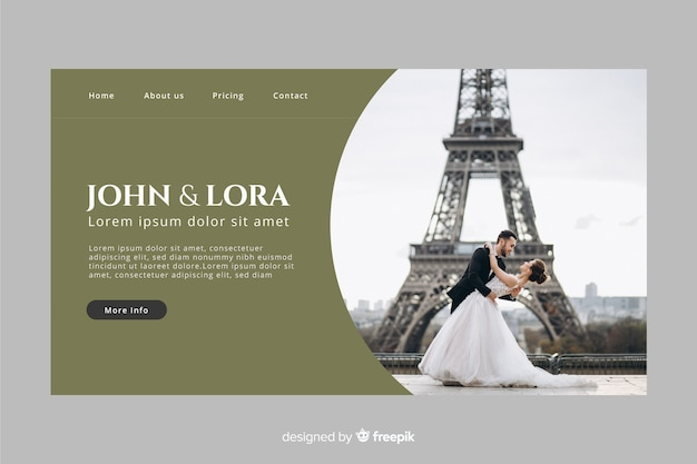 Wedding landing page with photo and dark color