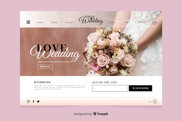 Wedding landing page with photo design