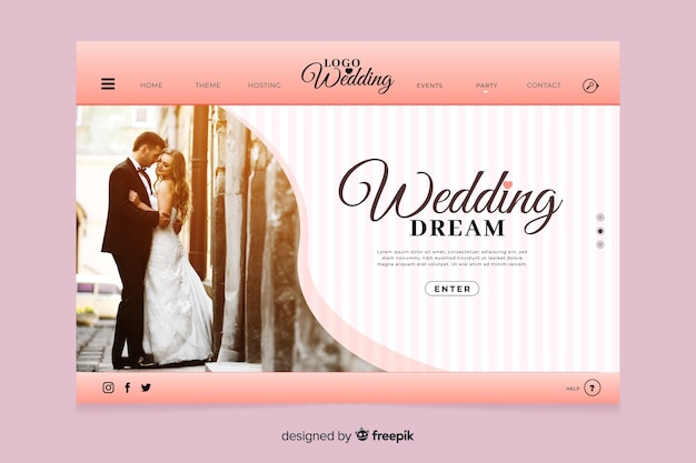 写真スタイルの結婚式のランディングページ