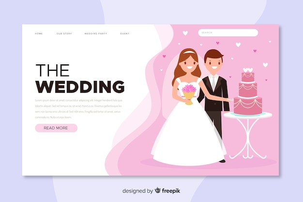 The wedding landing page with photo