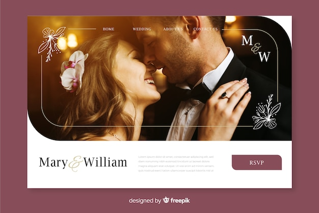 Wedding landing page with photo