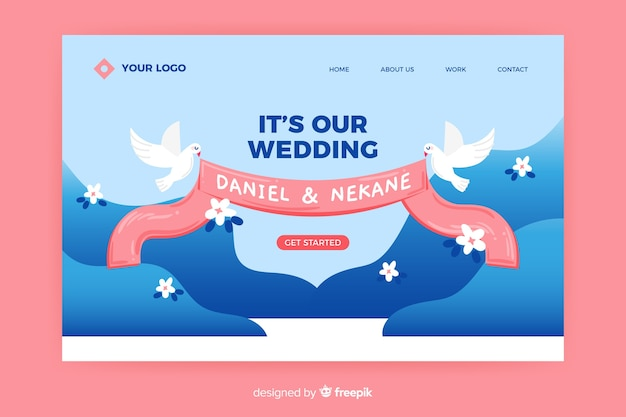 Wedding landing page with pigeons