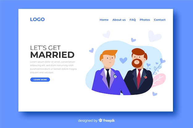 Wedding landing page with two grooms