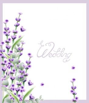 Wedding lavender frame in watercolor