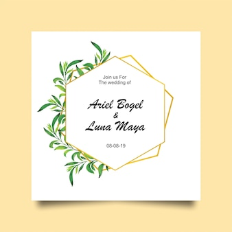 Wedding leaf and gold frame invitation cards