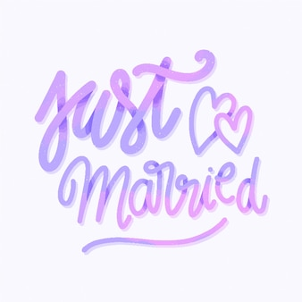 Wedding lettering background just married
